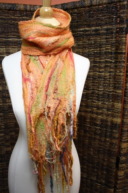 Learn to Wet Felt a luxurious Silk Merino Cobweb Scarf