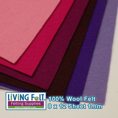 Felt Sheet 8 x 12 - 100% Wool - FUCHSIA